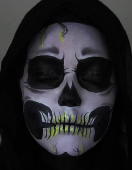 Maquillage Halloween  squelette , Les 15 meilleurs tutos de maquillage pour Halloween , Elle