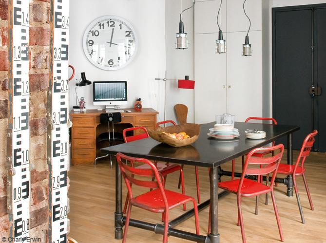 Un beau loft new yorkais paris elle d coration for Salle a manger industrielle
