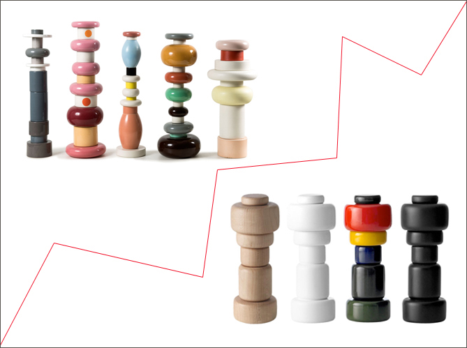 1 objet 2 budgets les totems sottsass versus le moulin poivre muuto elle d coration. Black Bedroom Furniture Sets. Home Design Ideas