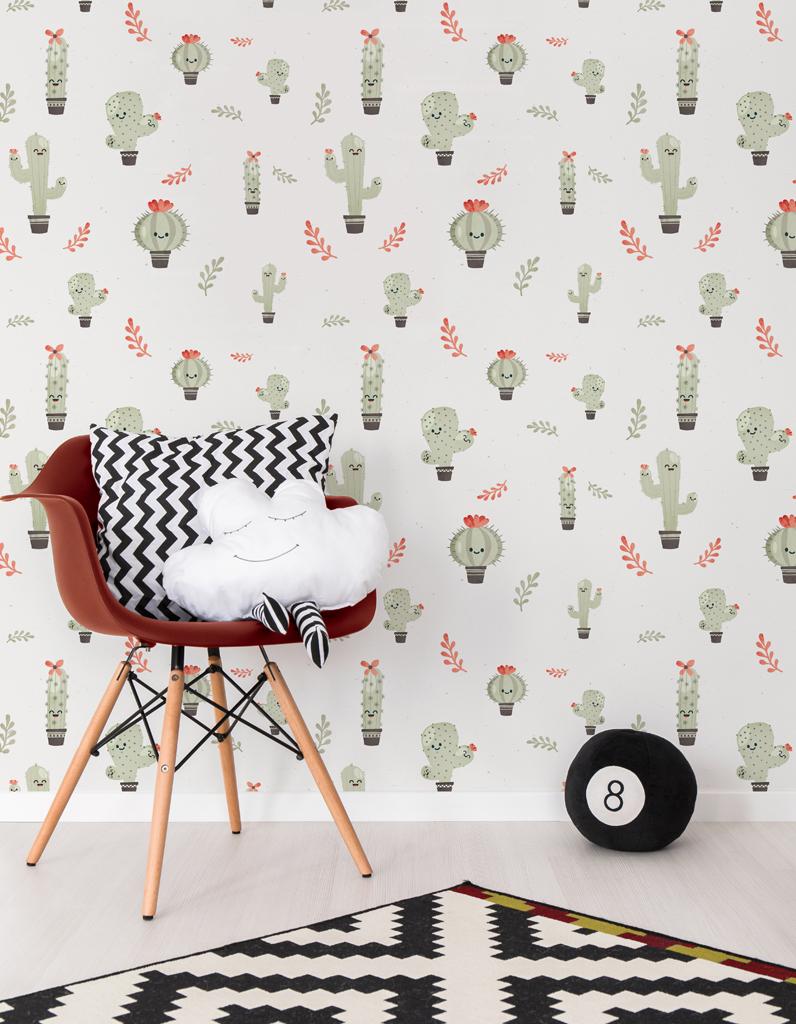 papier peint les cactus l 39 objet d co du jour du papier peint d cal pour les enfants. Black Bedroom Furniture Sets. Home Design Ideas