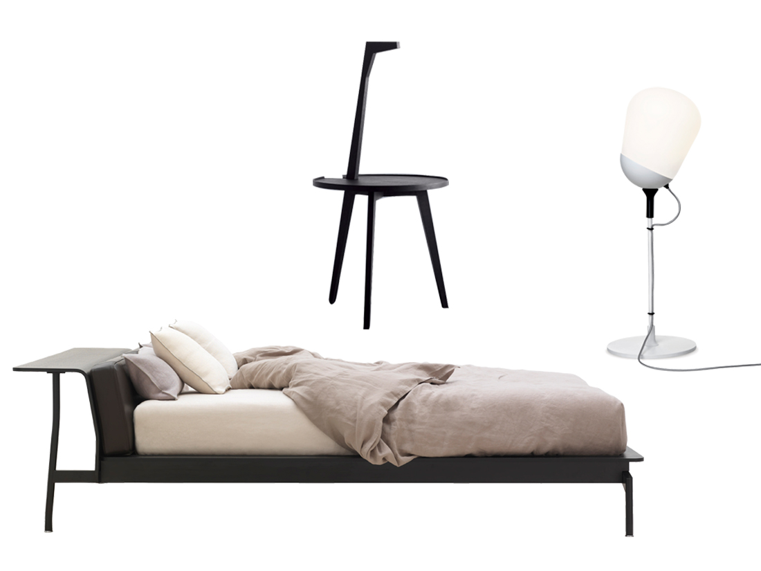 lit chevet lampe le bon mix pour une chambre id ale elle d coration. Black Bedroom Furniture Sets. Home Design Ideas