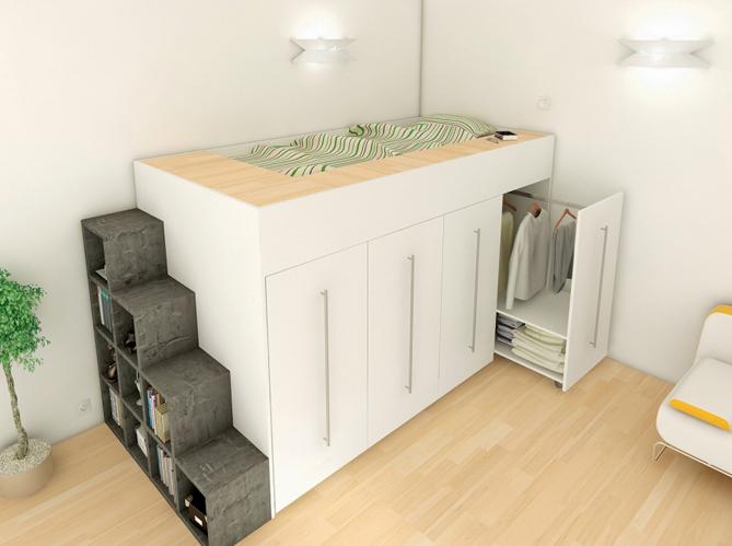 80 lits mezzanine pour gagner de la place elle d coration - Chevet pour lit mezzanine ...