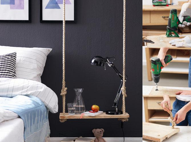 diy une table de chevet qui swingue elle d coration. Black Bedroom Furniture Sets. Home Design Ideas