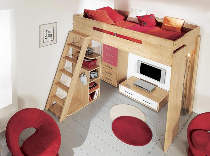 Tendance le lit mezzanine elle d coration - Mezzanine bois 2 places ...