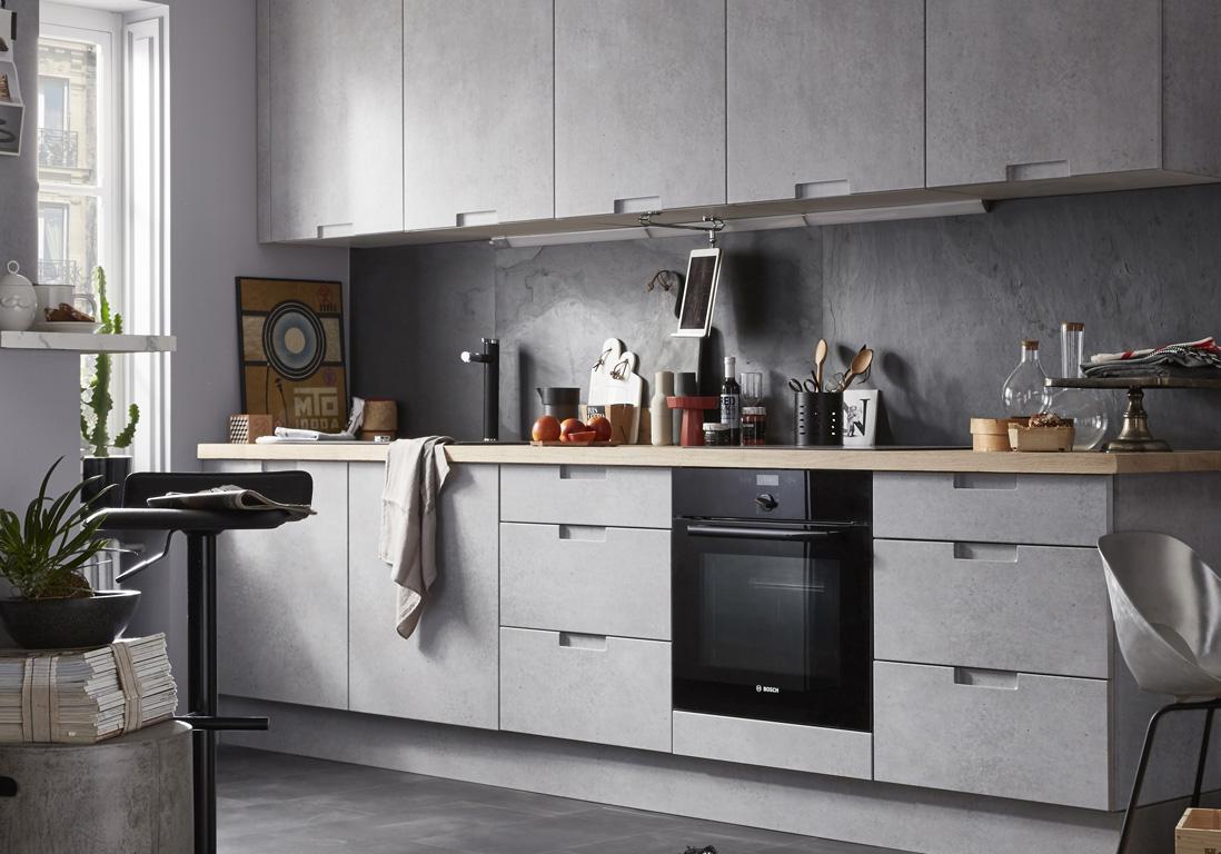 on joue la carte du chic et de l 39 intemporel avec la cuisine grise elle d coration. Black Bedroom Furniture Sets. Home Design Ideas