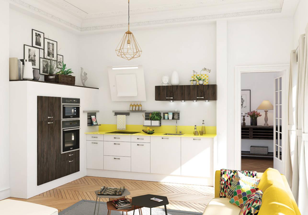 Petite cuisine notre s lection de petites cuisines - Cuisine blanche ouverte sur salon ...