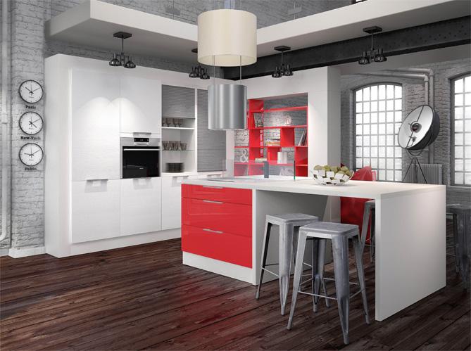 La cr me des cuisines design elle d coration - Cuisine en rouge et blanc ...