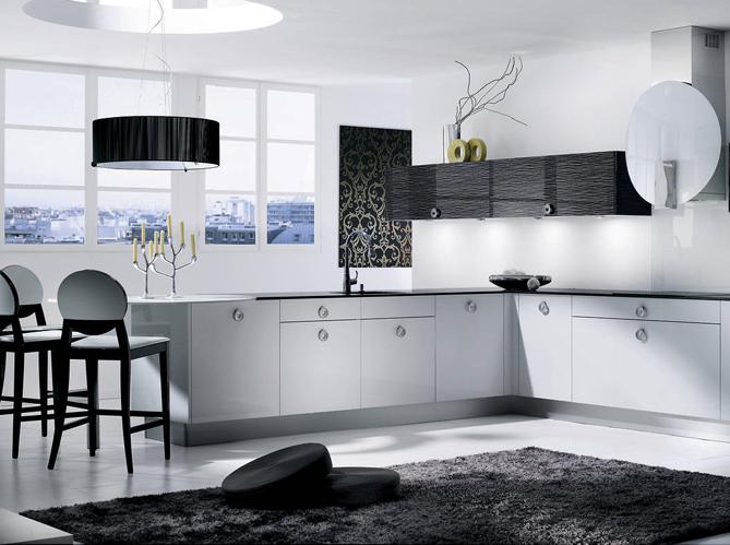 Cuisine bois noire et blanche for Deco cuisine blanc et noire