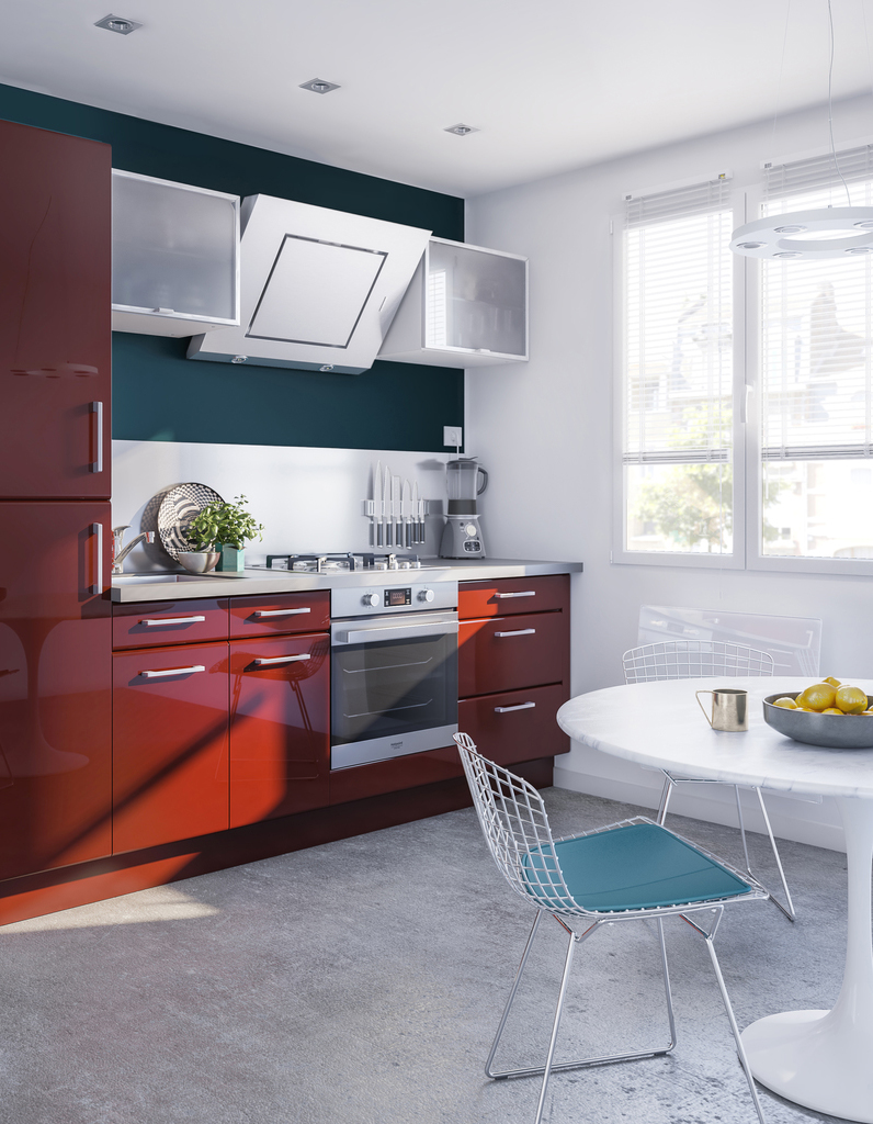 La cuisine rouge comme vous ne l avez jamais vue elle d coration - Cuisine rouge but ...