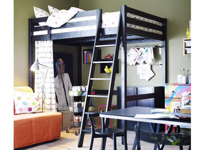 10 solutions pour am nager le dessous d un lit mezzanine. Black Bedroom Furniture Sets. Home Design Ideas