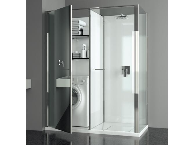Salle de bains comment gagner de la place elle d coration - Buanderie dans salle de bain ...
