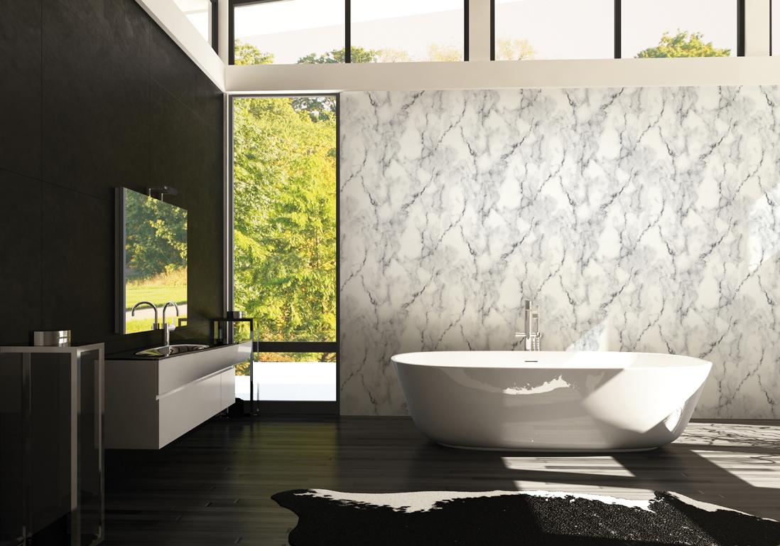 J 39 ose le papier peint dans ma salle de bains elle d coration - Trompe l oeil salle de bain ...