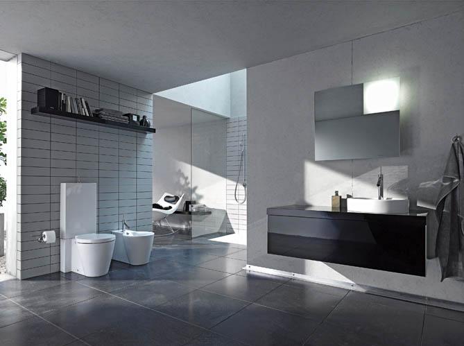 La salle de bains s 39 habille en noir et blanc elle d coration for Salle de bain noir et bois