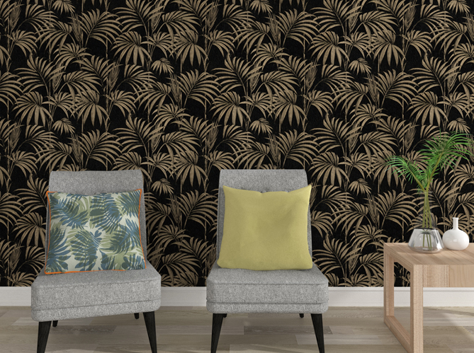 la tendance du jour le papier peint tropical elle d coration. Black Bedroom Furniture Sets. Home Design Ideas