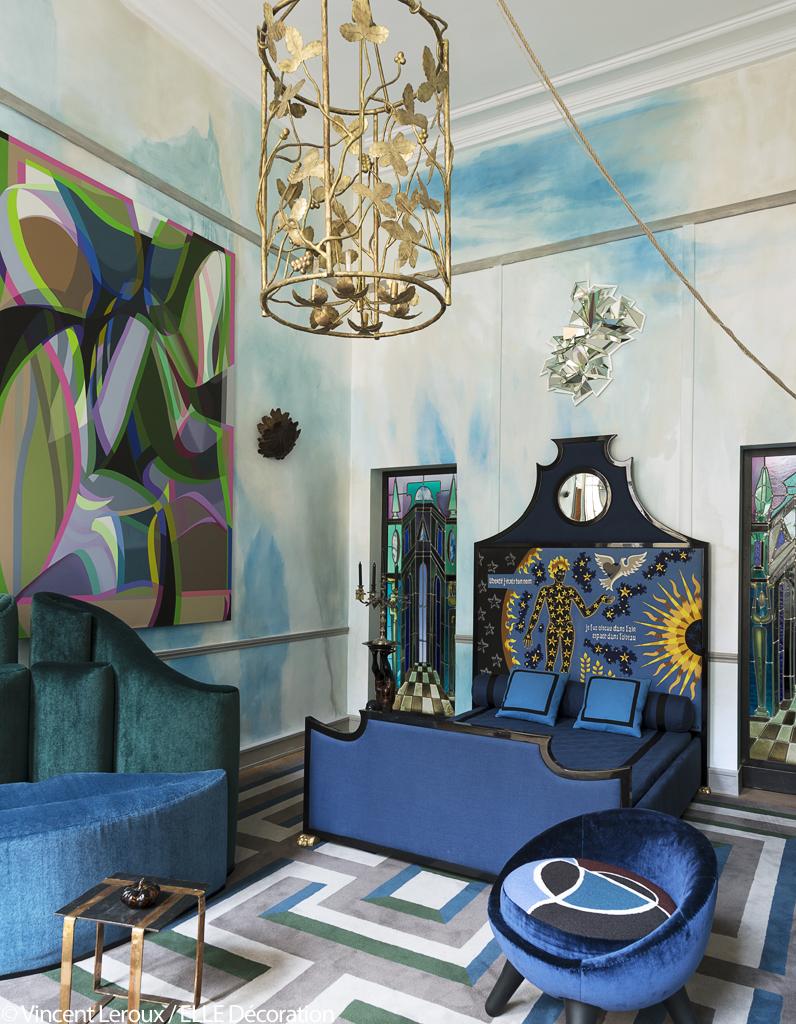 D couvrez l 39 appartement fantastique de vincent darr elle d coration - Decoration chambre bleue ...