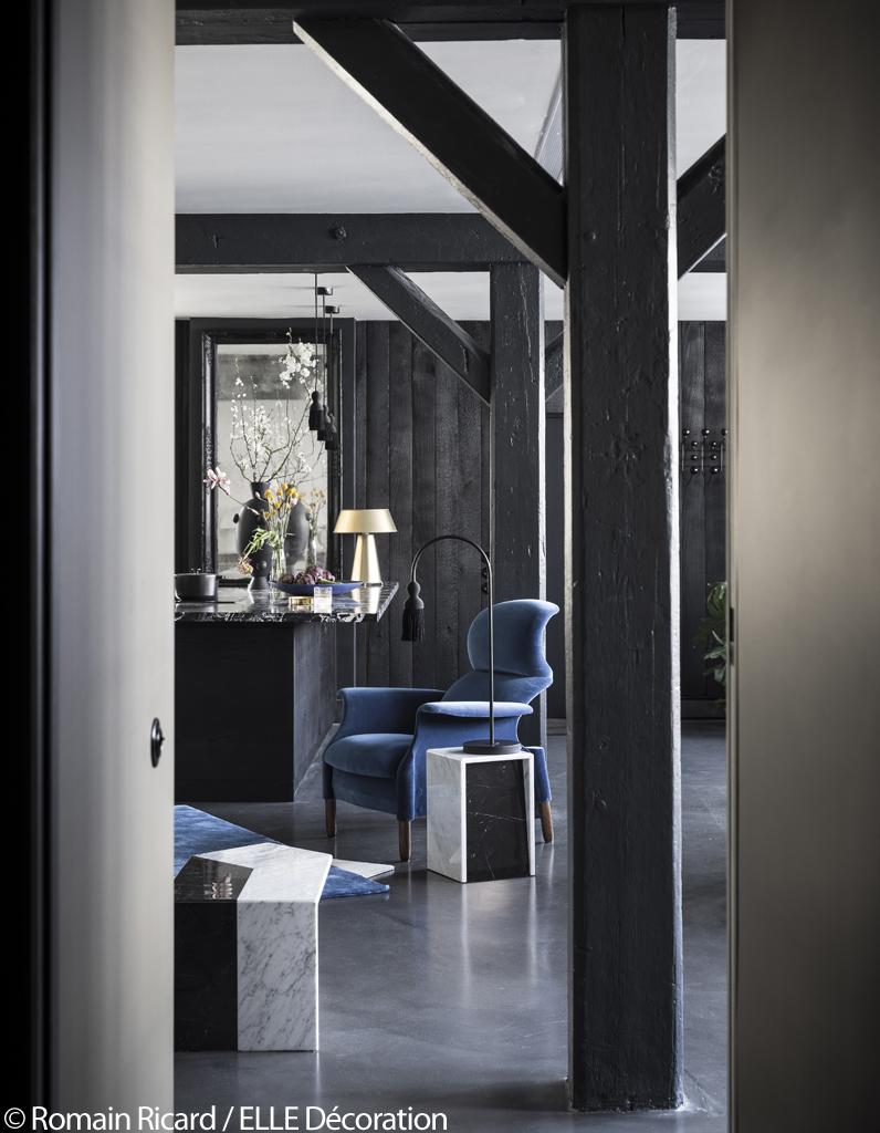 Paris visitez cet incroyable appartement noir sous les for Lumiere salon