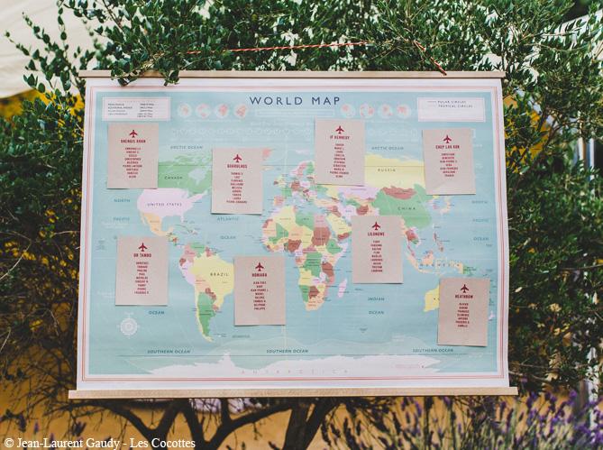 Mariage je veux un plan de table original elle for Decoration voyage autour du monde