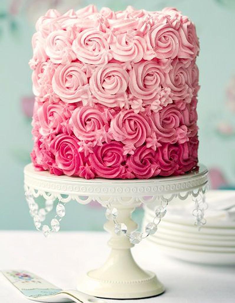 rose cake ombre rose cake 10 g teaux de r ve rep r s sur pinterest elle table. Black Bedroom Furniture Sets. Home Design Ideas