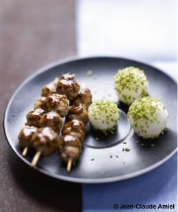 Boulettes de porc caram lis es riz au s same vert pour 4 - C est au programme recettes de cuisine ...