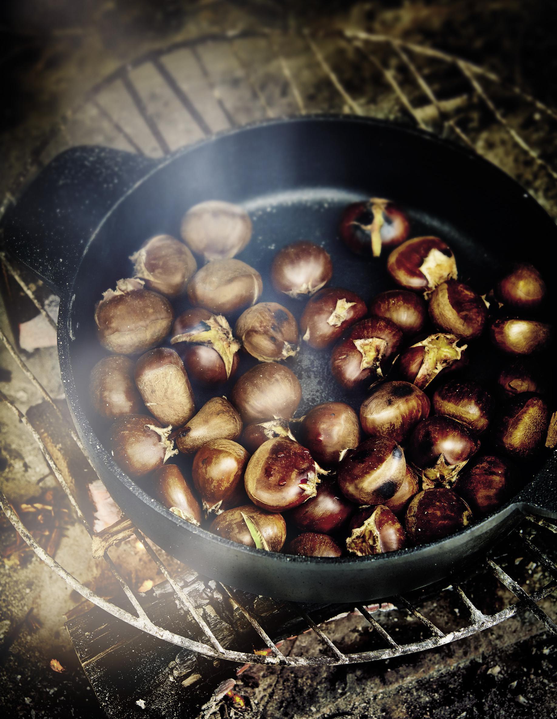 Ch taignes grill es au feu de bois pour 4 personnes recettes elle table - Calories chataignes grillees ...