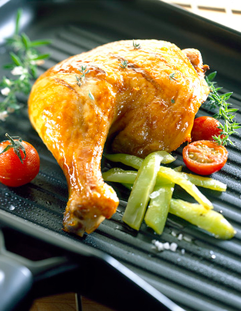 Cuisses de poulet grill es l 39 ail citron et romarin - Graines de potimarron grillees a la poele ...