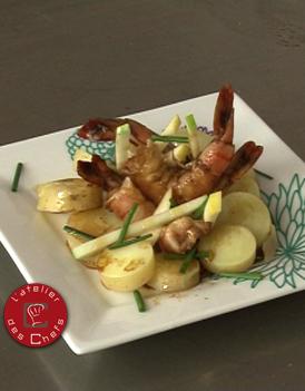 pommes grenaille et pommes fruit in salada crevettes pour 6 personnes recettes elle table. Black Bedroom Furniture Sets. Home Design Ideas