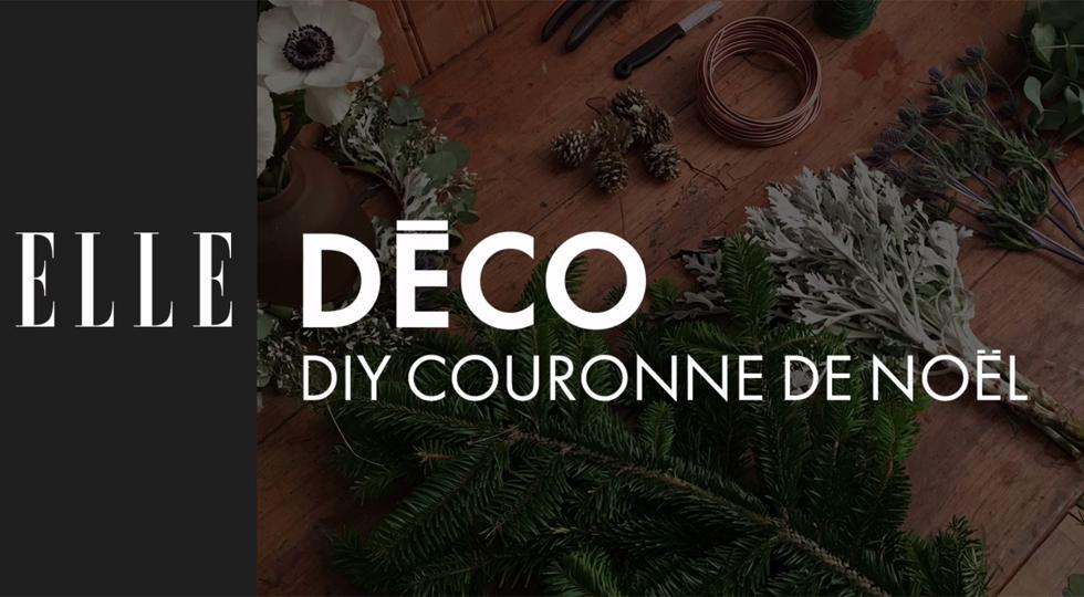 diy r alisez une couronne de no l chic et tendance elle vid os. Black Bedroom Furniture Sets. Home Design Ideas