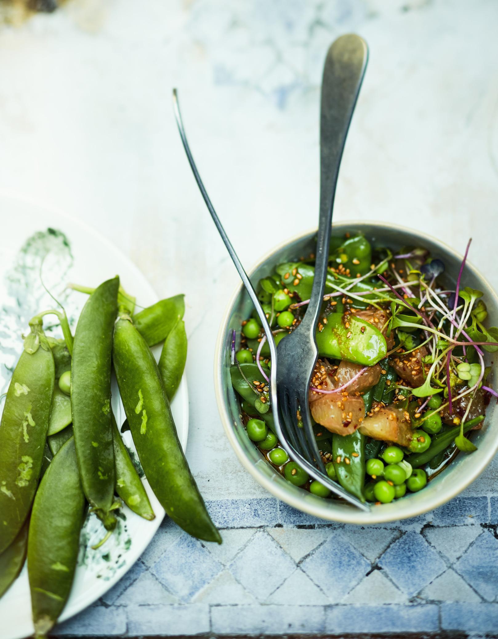 Salade de petits pois pois gourmands pamplemousse pour 6 - Cuisiner des pois gourmands ...