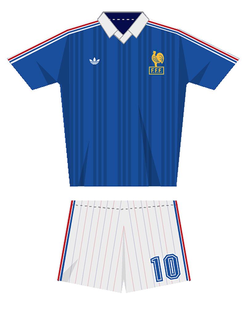 Le maillot de l quipe de france de football en 1982 coupe du monde de football le maillot - Coupe du monde france allemagne 1982 ...