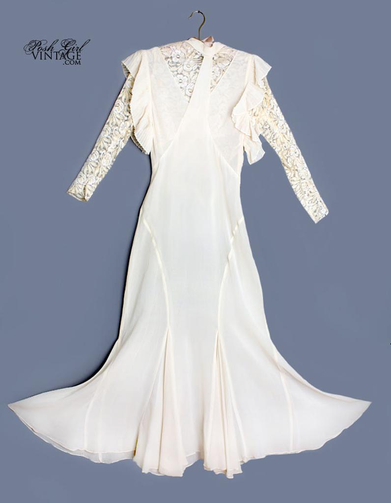 robe en mousseline de soie ann es 30 posh girl vintage 50 robes de mari e qui changent elle. Black Bedroom Furniture Sets. Home Design Ideas