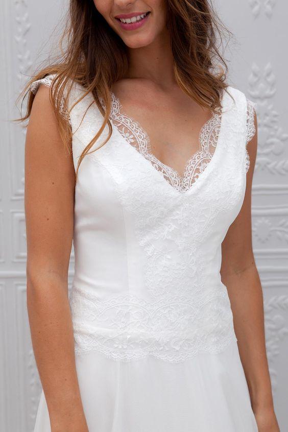Robe de mari e dentelle simple 30 robes de mari e en for Sangles de dentelle de robe de mariage