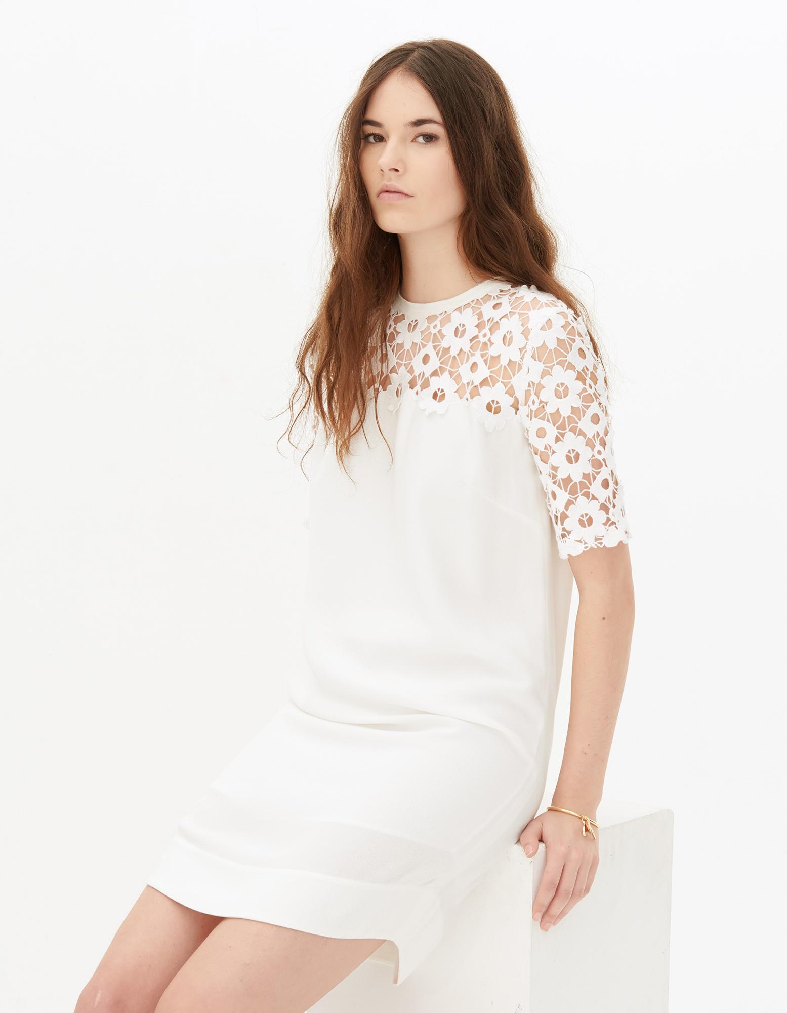 sandro robe blanche dentelle la mode des robes de france. Black Bedroom Furniture Sets. Home Design Ideas