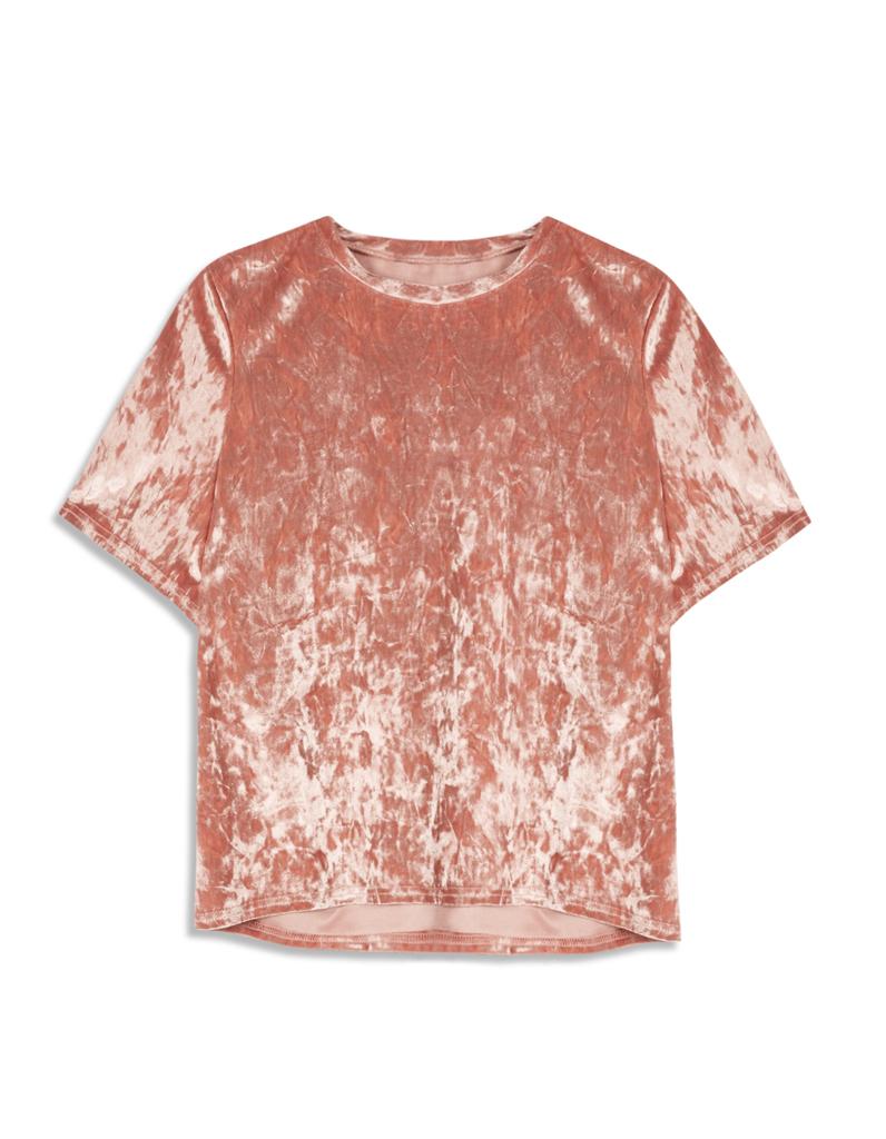t shirt en velours rose 11 pi ces en velours pour commencer l automne en douceur elle. Black Bedroom Furniture Sets. Home Design Ideas
