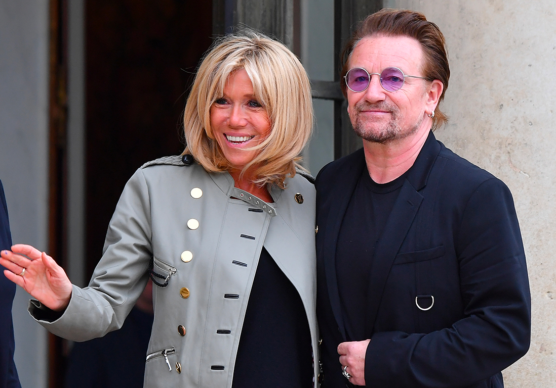 brigitte macron les dessous de la rencontre pr sidentielle avec bono elle. Black Bedroom Furniture Sets. Home Design Ideas